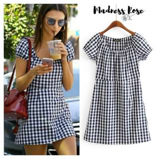 Black Checked Casual Dress