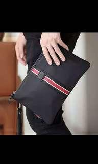 🚚 ✔️INSTOCK! Sporty Varsity Portable Mens Black Clutch - Power Bank Bag - Mens passport holder - Bikers bag - cyclist bag New
