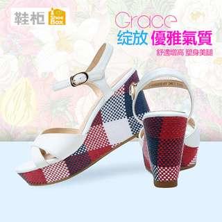🚚 Daphne/達芙妮旗下SHOEBOX/鞋櫃韓版時裝坡跟女涼鞋全新清倉 挑戰最低價 任選3件免運費