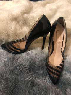 Black Leather and Plexi Siren Heels
