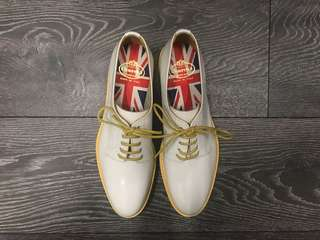 Church's White Leather Yellow Rim Special Edition Brogues Shoes Made In Italy