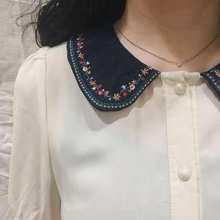 🚚 全新✨日系氣質碎花領口雪紡襯衫👒💐