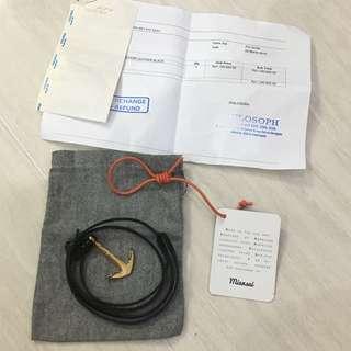Miansai Gold Anchor Leather Bracelet (Branded) (Authentic) (Gelang Pria / Wanita) (Fashion Pria)