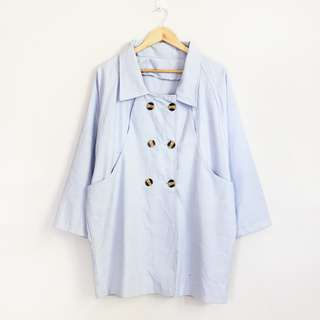 (S-M) Korean Fashion Style Powder Blue Soft Jacket Coat