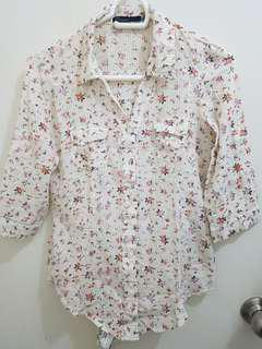 Freego Floral 3/4 Sleeve Collared Shirt