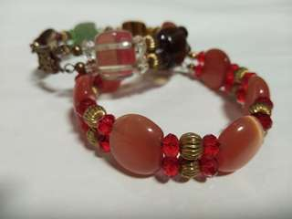 Gold bracelets bangle with lucky stones agate gemstone