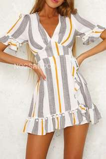 NC1060 Stripes Bohemian Dress (Yellow/Blue)
