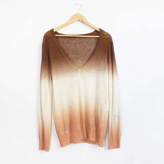Knitted Ombre Linen V-Neck Sweater Top