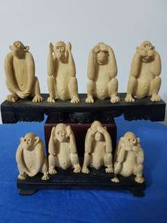 4 MONKEYS.   The 4 evils........    Small piece is $10.00 and the big piece behind is $20.00.    Buy both and you pay only $25.00.