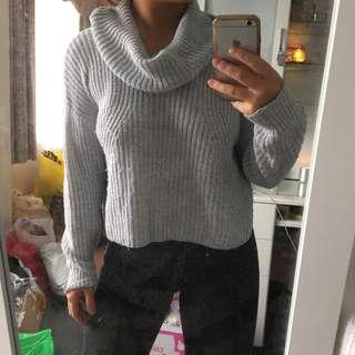 turtleneck grey knit jumper