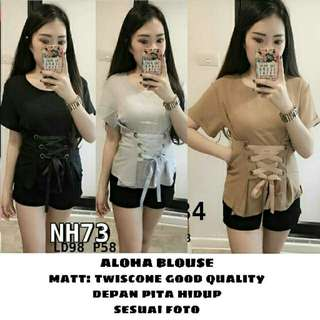 ALOHA BLOUSE BAHAN TWISTCONE GOOD QUALITY ALLSIZE FIT TO L