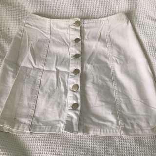 universal store white button up mini skirt denim