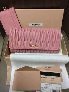 正貨全新Miu Miu wallet 粉紅色長身啪鈕款銀包 5MH109  羊皮