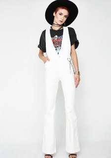 white dollskill flare overalls