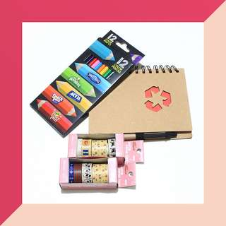 Stationery Bundle - Notebook, Paper Tapes and Notebook with Pen