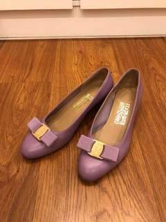 Purple Salvatore Ferragamo Heels 紫色粗踭鞋