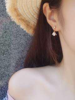 韓國鋯石三角耳環(夾式)