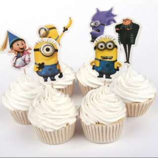 12 pcs Minions Cupcake Topper Cake Toppers Birthday Party Decoration Baking Picks