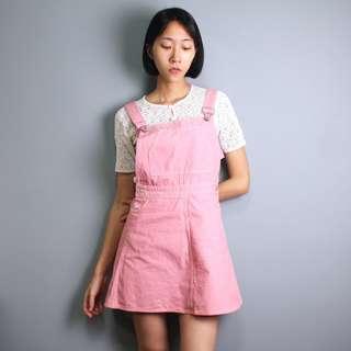 古著 Benetton義大利製薔薇粉吊帶裙
