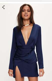 Missguided Navy silky dress