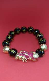 Black Onxy Stone Bracelet with 1 Changing Colour (Depend on Body Temperature) Pixiu (貔貅) (BRAND NEW)