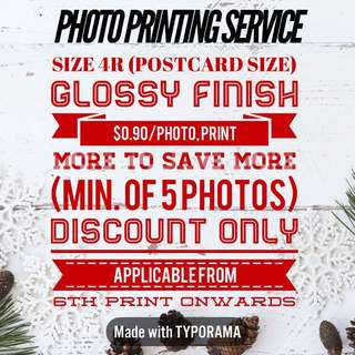 [SALES] 4R PHOTO PRINTING SERVICES