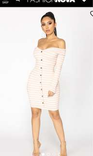 Bnwt Fashion Nova Pink & White Stripe Off Shoulder Midi Dress Size M