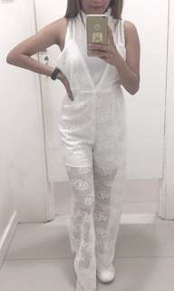 White lace formal jumpsuit