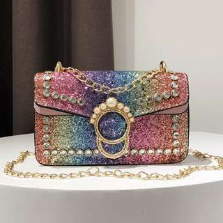 (R)Glitter Crown Sling Shoulder Handbag