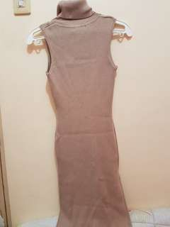 Nude turtle neck dress
