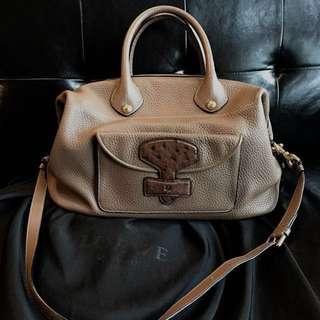 (接近全新)Loewe 駝鳥皮 Boston bag Ostrich leather May bag shoulder bag handbag