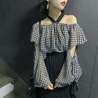 PO/Checkered off shoulder top