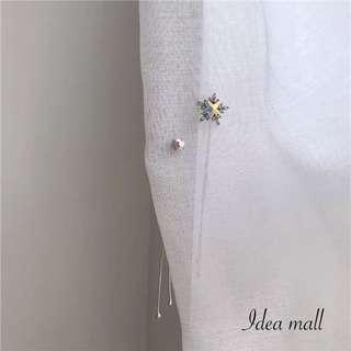 Long drop crystal bling bling earrings