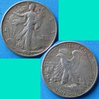 Coin US USA United States of America Walking Liberty Half Dollar 1945 P km 142 silver