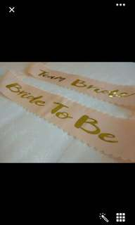 Bride to be / team bride peach sash