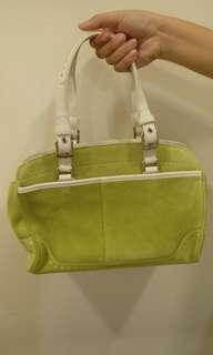 Coach Pistachio Green Suede Hampton's Satchel Bag J04S-5081