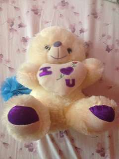 White and Purple Teddy Bear