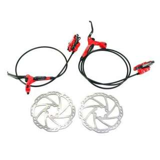 💯🆕TEKTRO Draco 2 Hydraulic Disc Brake Set With Rotor & Bleed Kit (Red) Limited Stock