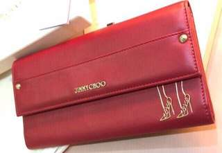 Authentic Jimmy Choo red leather love wallet 長銀包 LV RV moschino Chanel cdp