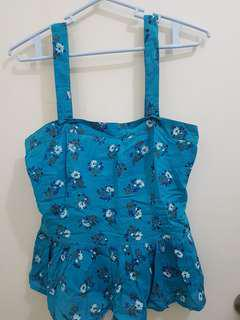 Topshop Blue Floral Printed Peplum Sleeveless Top