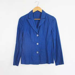 Dark Blue Lightweight Linen Blazer Jacket