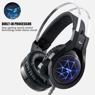 🚚 BNIB NUOXI N1 Gaming Headset,3.5mm Wired Bass Stereo Noise Isolation with Microphone 7 Colour Breathing LED Lighting Headphone for PC Computer Games Black