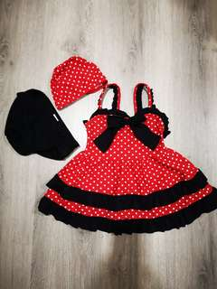 Red Polka Dots Girl Swim Wear Set