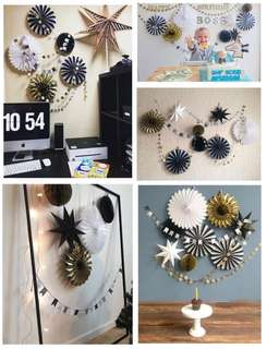Party Decor Set - B/W Gold - birthday / weddings / baby shower