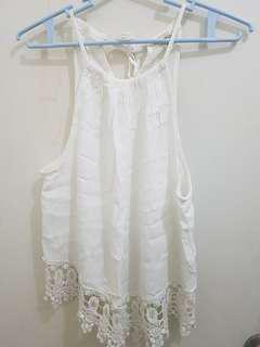 Urban Look White Sleeveless Top with Lace Trimmings