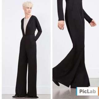 🚚 Zara 黑色長袖白色內襯連身褲寬褲