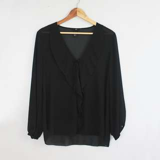 H&M Lightweight Black Semi-Sheer Top Blouse