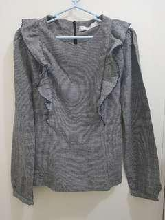 Gray LS Blouse with Ruffles