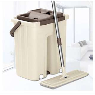[FREE POSTAGE SM] Squeeze flat dry mop hands free magic flat mop with bucket