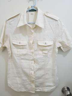 Giordano Off-White Button-Down Collared Blouse